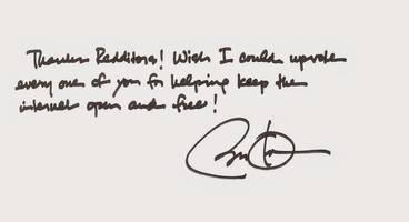 President Obama thanks Reddit in a handwritten note for helping save the internet as we know it